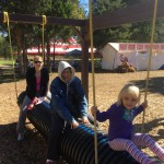 (3 generations) Kelly, Priscilla, and Olivia enjoying an unusual swing